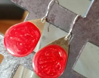 Teardrop earrings with sterling fishhooks