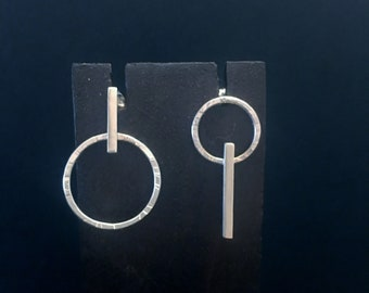 Minimalist and asymmetrical silver earrings. Original design. Handmade