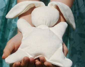 Stuffed  Toy Animal - Bunny - Organic Baby - Organic Cotton Hemp - Eco Friendly Toy - Natural - Repurposed - Rabbit