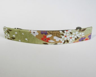 Flower French Barrette, Long Hair Clip, Large Chiyogami Barrette, Sage