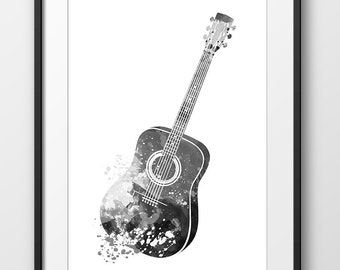 Acoustic Guitar Print Black and White, Guitar Watercolor Print, Music Poster, Music, Abstract Music Instrument Poster, Guitar Art (A0251)