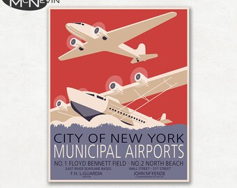 NEW YORK Airports, Vintage 1930's WPA Poster Reproduction, United States Travel Poster