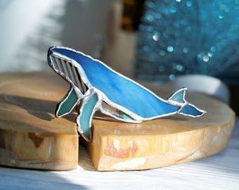Stained glass brooch humpback whale  light blue
