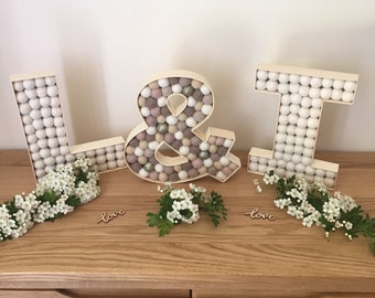 Wooden letter felt ball decorations - personalised wedding, engagement party decor, anniversary presebt, gift, pom pom, initials