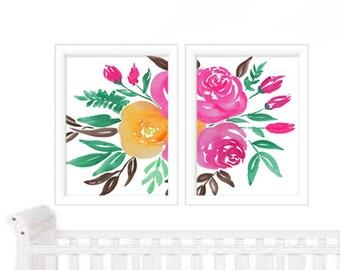 Watercolor Print Set of 2  - Watercolor Floral - Watercolor Floral Print Set - Watercolor Prints - Art Prints - Home Decor - Wall Art Prints