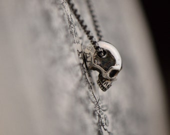Sterling silver half skull pendant. Highly detailed silver skull jewelry. Rocker pendant. Biker necklace. Birthday gift for him. Fathers Day