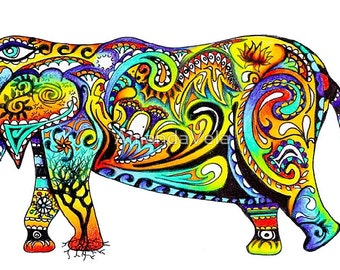 Elephant Art, Gnesha, Zentangle Elephant, Spirit Animal Art, Spiritual Art, Mandala Elephant, Psychedelic Art, Paisley Elephant, Rainbow Art