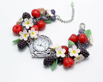 Watch (bracelet) with polymer clay fruits and flowers