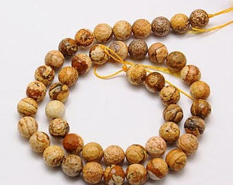 8mm Picture Jasper Stone Rounds 15 Inch Strand 47 Beads Faceted Gemstone Jasper Natural 8mm Jasper Rounds. Light Brown Stone Mottled