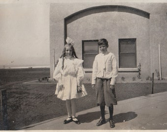 Original Vintage Photograph Snapshot Boy & Girl Knickers Hair Bow 1910s