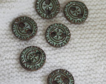 Green Pottery Buttons