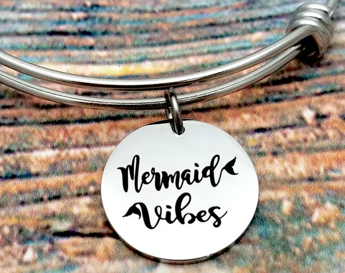 Mermaid Vibes Customizable Expandable Bangle Charm Bracelet, choose your charms, create your style, design your bracelet,