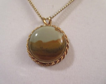 Gorgeous genuine Owyhee Picture Jasper from Oregon hand made gold tone pendant / chain necklace. Beautiful piece of nature you can wear!