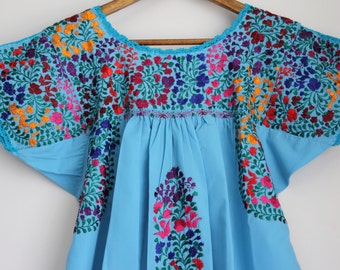 Turquoise with Multi Colored embroidery Mexican Wedding blouse