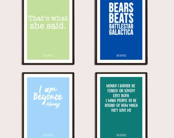 The Office 4 Pack Posters Print Digital Download, Printable, Typography Print, Wall Art, Home Decor, Gifts