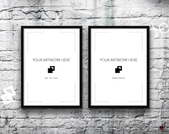 5x7 Set of 2 Frames BLACK FRAME MOCKUP Vertical Styled
