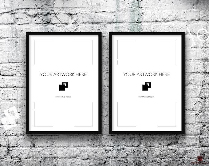5x7 Set of 2 Frames BLACK FRAME MOCKUP, Vertical, Styled Photography Poster Mockup, old White Brick Background, Framed Art, Instant Download