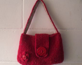 Red Knitted Bag, Small Hand Knitted  Evening Bag