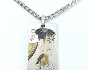 Sharaku ukiyoe picture necklace Kabuki jewelry Japanese jewelry Men's necklace