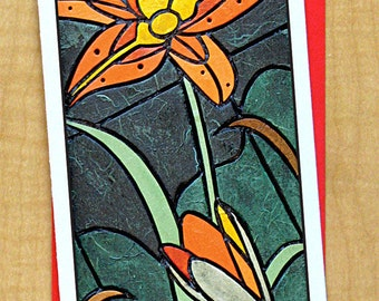 Tiger Lily Mosaic Card- Greeting Card- Large Long Card- Any Occasion- Blank Card- Flower Card- Garden Card- Tiger Lily Card- Summer Card
