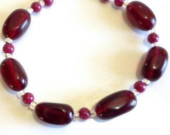 Black Cherry Red Bracelet, Casual Jewelry, Dark Red Bold Beaded Jewelry, Chunky Statement Bracelet Office Jewelry, Large Size