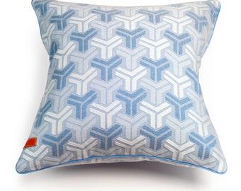 """Trio Blue Cotton Cushion Cover + Inner 16"""" x 16"""""""