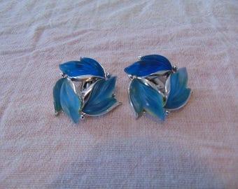 vintage blues fruit salad clip earrings silver plate lucite