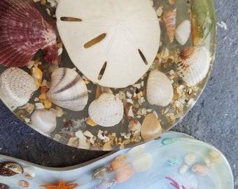 Vintage Florida Beach Souvenir Kitschy Seashell Spoon Rest &Trivet