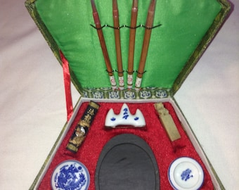 Vintage Chinese Calligraphy Set New