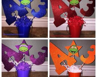 Set of 4 Ninja Turtle handmade birthday centerpieces