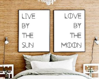 Set Of Two ART PRINTS | Poster pair Boho  poster |  Typography Gypsy Boho |  eclectic  Over the bed Decor |  Print Bundle Gallery Wall