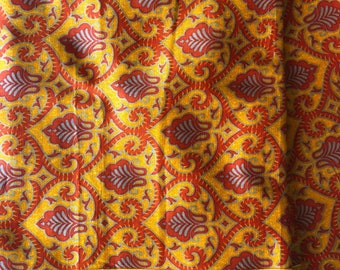 Indian Cotton Fabric by the yard, Printed Cotton Indian Textile, Baroque Print, Arabesque Print, Border Printed Fabric, Fashion Fabric