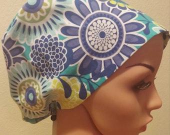 Women's Surgical Cap, Scrub Hat, Chemo Cap, Blue Floral