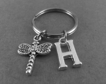 Personalised Dragonfly Keyring Keychain Initial Charm