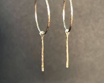 Solid 14 Karat Yellow Gold Hoop Earrings With Dangle