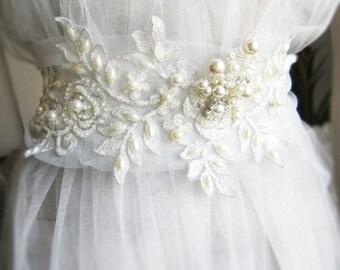 Ivory lace bridal belt sash, wedding lace and pearl sashs, wedding dress belt