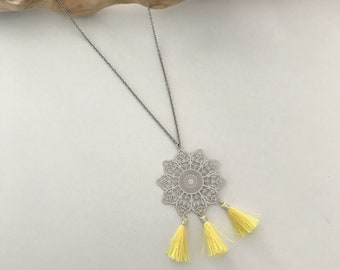 Long necklace, stainless steel, yellow pompons, filigree stamp, woman