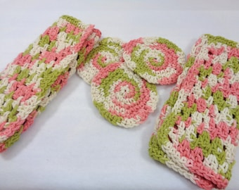Set of Two Wash Cloths and Three Facial Cloths, All Cotton Bath Set, Gift for Mom, Pink and Green Dishcloths, Facial Scrubbies and Washrags