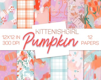 Pumpkin DIGITAL PAPER Autumn Fall Floral Plaid Abstract Painterly
