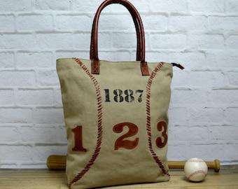 Baseball tote ~ Baseball Handbag ~ Laptop Tote ~ Leather Tote ~ Green Canvas Tote ~ Leather Canvas Tote ~ Spacious Handbag ~ Travel Tote