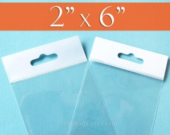 100 2 x 6 Inch HANG TOP Clear Resealable Cello Bags Packaging for Hanging on Display or Peg