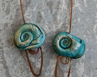 Ammonite headpins, fossil jewelry components, rustic earrings, organic Ammonite fossil