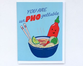 Pho Noodle Card - Pho Art, Vietnamese Pho Card, Noodle Bowl Card, Pho Puns, Pho Bowl,Punny Goodbye Card