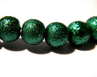 20 beads 8 mm - glass - effect frost or bumpy Pearl - green-glass G143 3 round bead