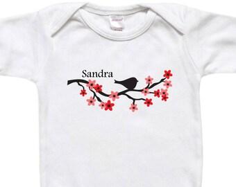Personalized Baby Bodysuit - Toddler Shirt - Baby Shower Gift - Bird on Cherry Blossom Branch Black