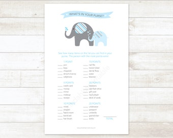 elephants baby shower game printable what's in your purse elephants baby boy shower blue baby shower digital games - INSTANT DOWNLOAD