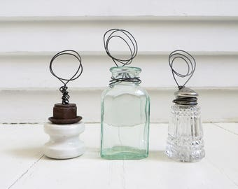 Rustic decor / Picture holder from vintage glass bottle / Postcard stand / Wire stand / Industrial decor