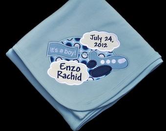 Baby Boy Birth Announcement Personalized Baby Keepsake Blanket