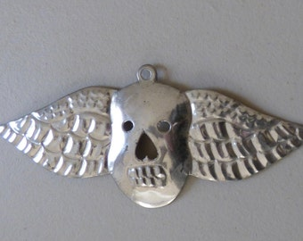 Mexican Folk Art Tin Skull with Wings Ornament