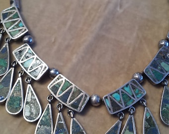 Sterling Silver Stone Inlay Necklace